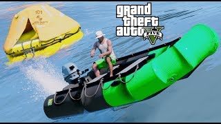 GTA 5 REAL LIFE MOD #74 Fun Out On The Water With The Mark-II Zodiac Boat & Lift Raft
