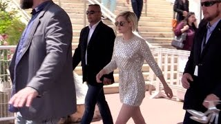 Kristen Stewart coming out of Personal Shopper press conference in Cannes