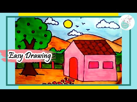 easy house scenery drawing step by step tutorial for kids - House Drawing Easy