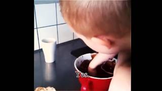 Swedish kid caught on tape eating cookie dough and lying about it