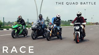 Duke 390 VS Ninja 300 VS Apache RR310 VS Dominar 400 | LONG RACE | Biggest Battle thumbnail