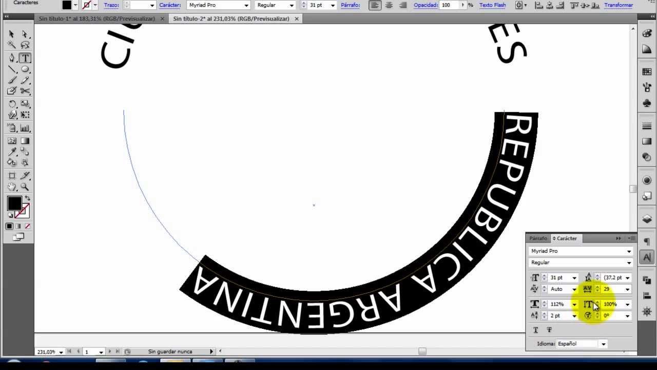 Illustrator Texto En Un Trazado Circular Youtube