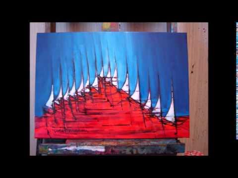 Composition Bateaux En Bleu Blanc Rouge Peinture Dyves Borredon