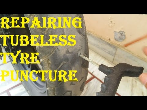 Repairing a Punctured Flat Tubeless Tyre at Home By Yourself..!!
