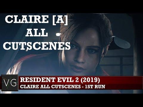 Resident Evil 2 (2019) - Claire Redfield All Cutscenes 1st Run (Claire [A])