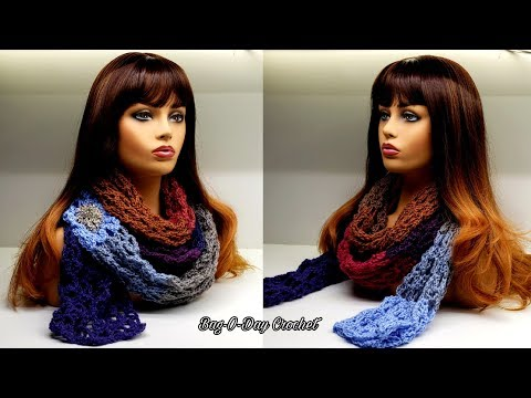 How To Crochet An Easy Scarf – Luxurious Lace Super Scarf | Bag-O-Day Crochet Tutorial #557