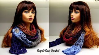 How To Crochet An Easy Scarf - Luxurious Lace Super Scarf | Bag-O-Day Crochet Tutorial #557
