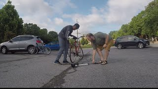 Macon, Georgia man gives bike, cart to support teen's summer lawn business