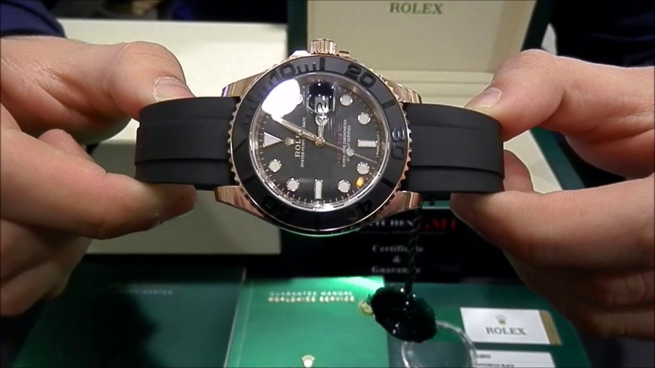 Rolex Yacht Master Rose Gold Rubber 116655 New