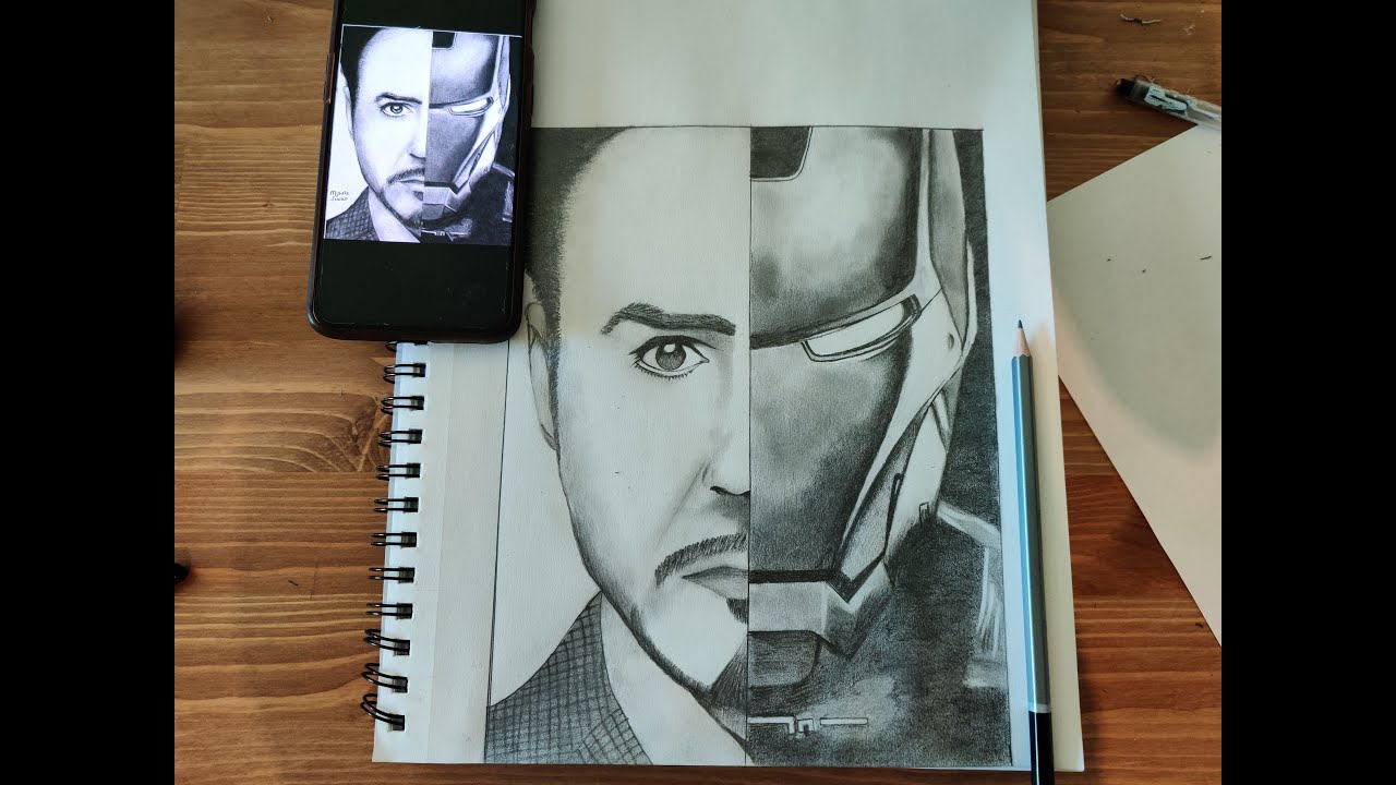 How to draw Iron Man-Tony Stark Sketch | Sketching Tutorial for beginners | Step by step | Portrait