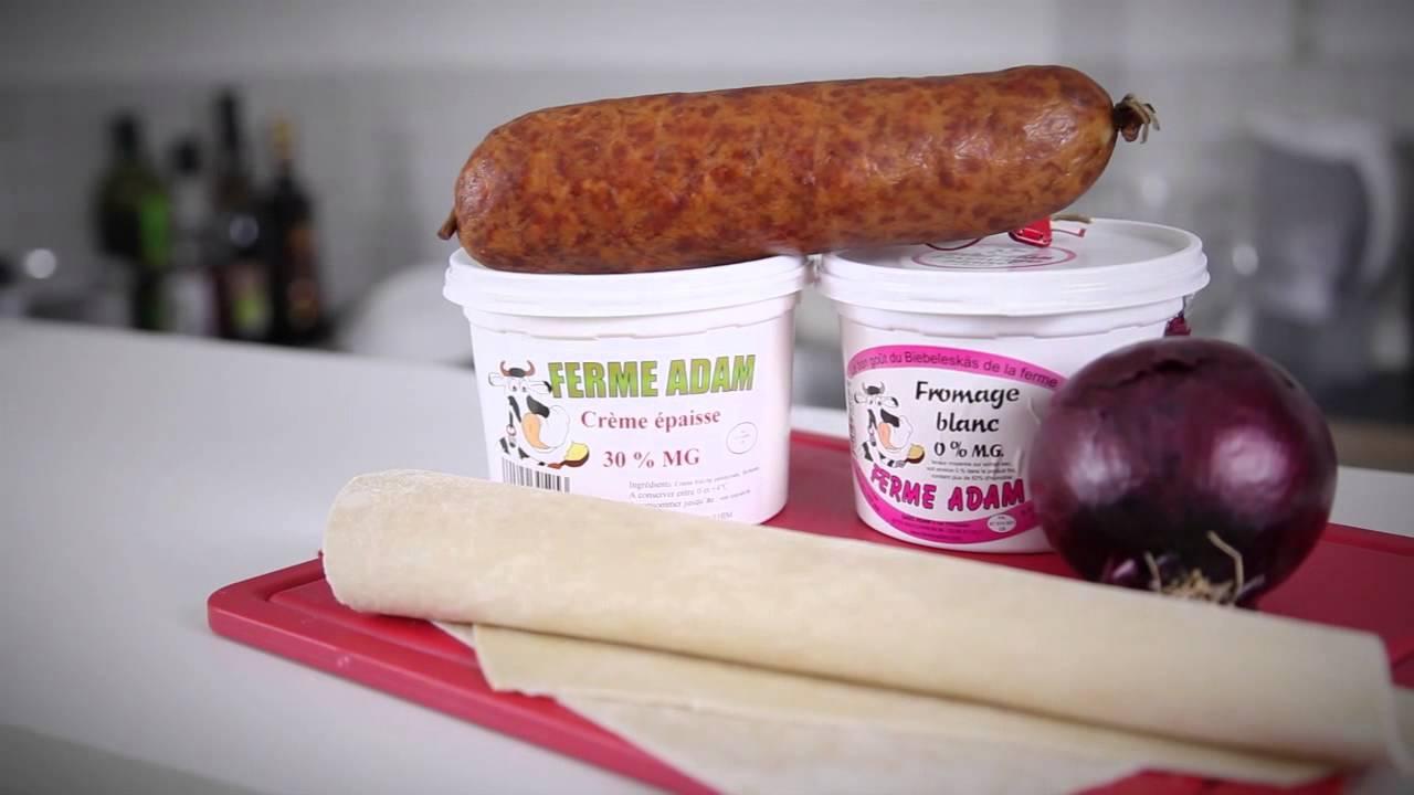 Recette de flammekueche ou tarte flamb e la saucisse de - Comment cuisiner la saucisse de morteau ...