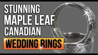 Stunning wedding rings made from Canadian maple leaf silver coins