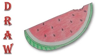How to draw a watermelon slice