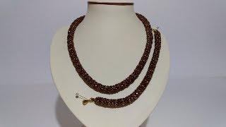 Украшение. Комплект. Ожерелье , браслет из бисера и бусин. Пошаговый МК для начинающих.