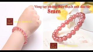 Vòng tay phong thủy đá thạch anh dâu tây thiên nhiên hồng loại cao cấp 8mm