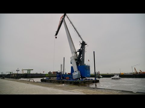 4K | BHV ATHLET 100t floating crane - Schwimmkran