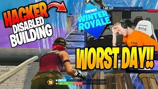 Tfue Gets BUILDING DISABLED by HACKER in Fortnite Winter Royale (Fortnite Funny Moments)