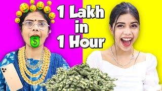 Giving My Mom Rs.1,00,000 to spend in 1 Hour Challenge!! *Fail or Pass* ??