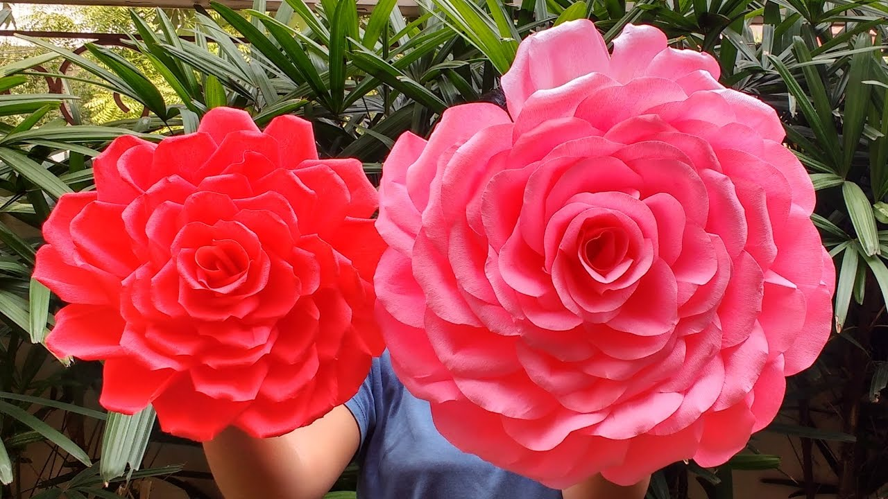 Diy How To Make Beautiful Giant Roses From Crepe Paper