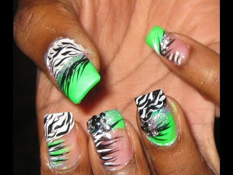 CRazy Zebra print nail art tutorial - YouTube