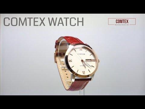 Comtex Business Herren- Mechanische Automatik Armbanduhr mit Rotbraun Leder Rose