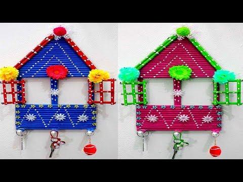 Newspaper craft - How to make key holder from waste material - Handmade key holder designs
