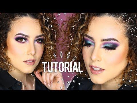 Maquillaje de impacto, tutorial, ojos intensos, para antro, turquesa y morado,