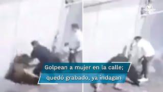 En la grabación se observa a una joven caminar sobre la calle de Morelos, en el centro de la capital Mexiquense, cuando un hombre adulto, vestido de negro le propina golpes y patadas, más de 10 veces