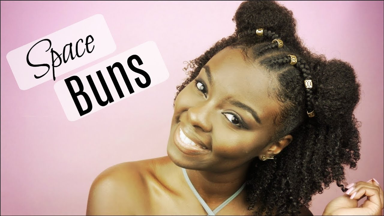 Natural Hairstyle Half Up Half Down Space Buns Youtube