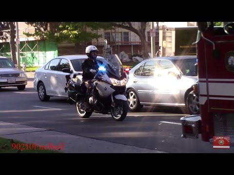Beverly Hills Fire Rescue 2 & Beverly Hills Police Motor Unit Responding/Arriving On Scene