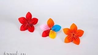Как сделать цветок оригами из бумаги своими руками, бумажный цветок, мастер-класс(Мастер-класс в фотографиях здесь: http://topmk.ru/master-klass-kak-sdelat-cvetok-origami-svoimi-rukami.html Другие пошаговые мастер-классы..., 2014-03-02T07:55:35.000Z)