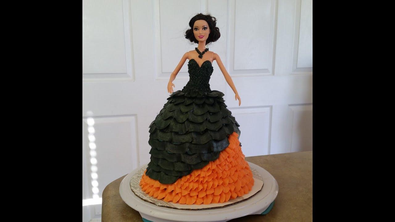 Halloween Theme BARBIE CAKE. Cake Decorating - YouTube