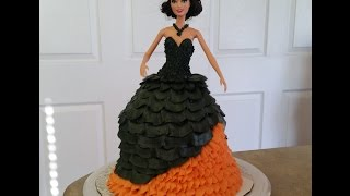 Halloween Theme BARBIE CAKE. Cake Decorating