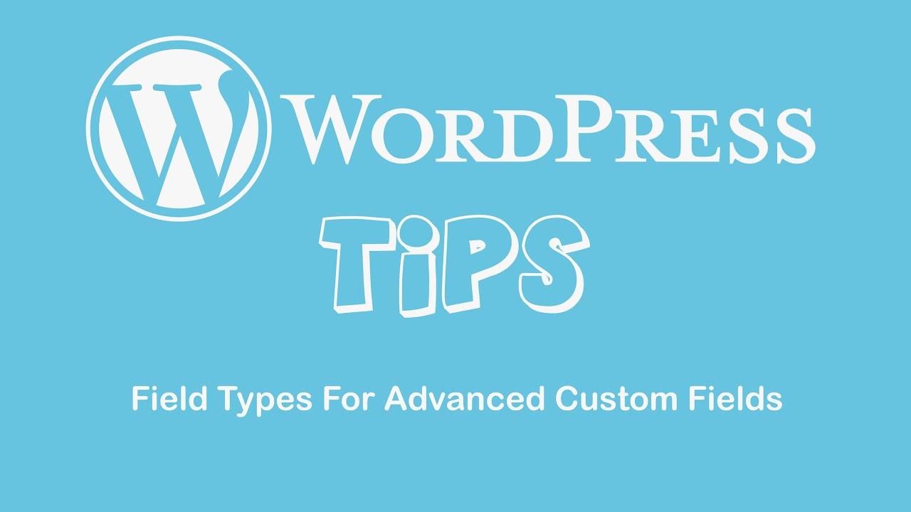 field types for advanced custom fields youtube