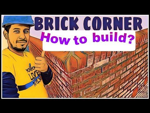 видео: Кладка угла из кирпича ( how to build a brick corner )