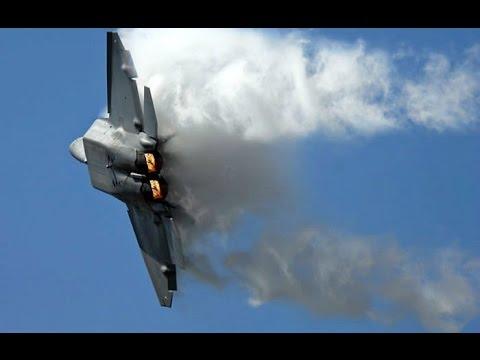 F-22 Raptor In Action - F-22 Raptor Planes Vertical Take Off, Sonic Boom Sound Barrier Breaks & CO