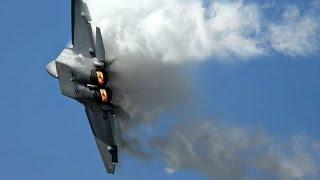 Video F-22 Raptor In Action - F-22 Raptor Planes Vertical Take Off, Sonic Boom Sound Barrier Breaks & CO download MP3, 3GP, MP4, WEBM, AVI, FLV November 2017