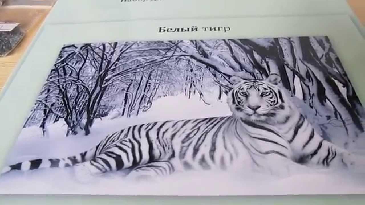 Вышивка черно белый тигр