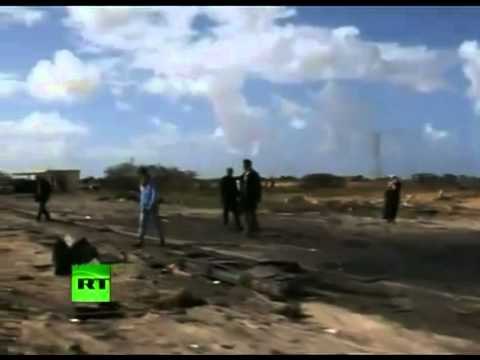 LIBYA   Video of night fighting in Libya, bombing aftermath, fighter jets take