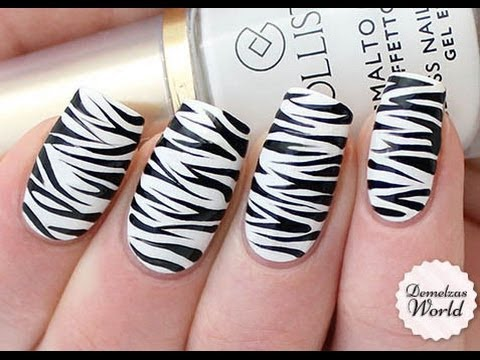 Zebra Print Nail Art Tutorial - Zebra Print Nail Art Tutorial - YouTube