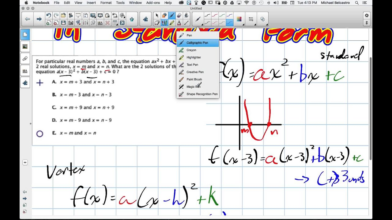 Transforming Quadratics In Standard Form Grade 11 University Lesson
