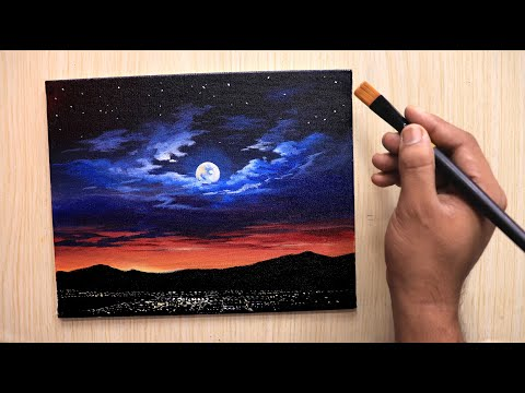 Acrylic painting of dramatic Moonlight night sky landscape step by step easy