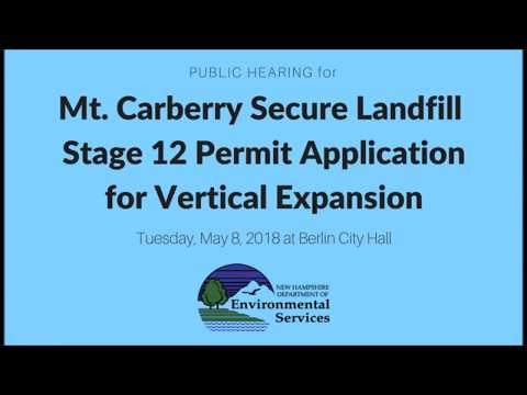 Mt. Carberry Secure Landfill Stage 12 Vertical Expansion - Public Hearing
