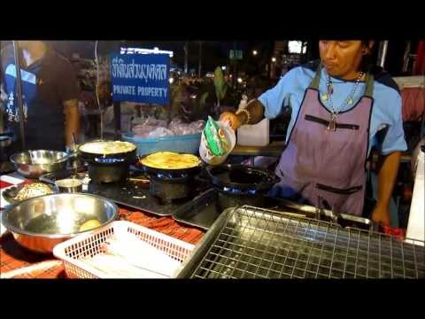 "THAI STREET FOOD MARKET: THAI OMELET recipe ""Shell fried seafood"",cooking Travel Thailand shopping"