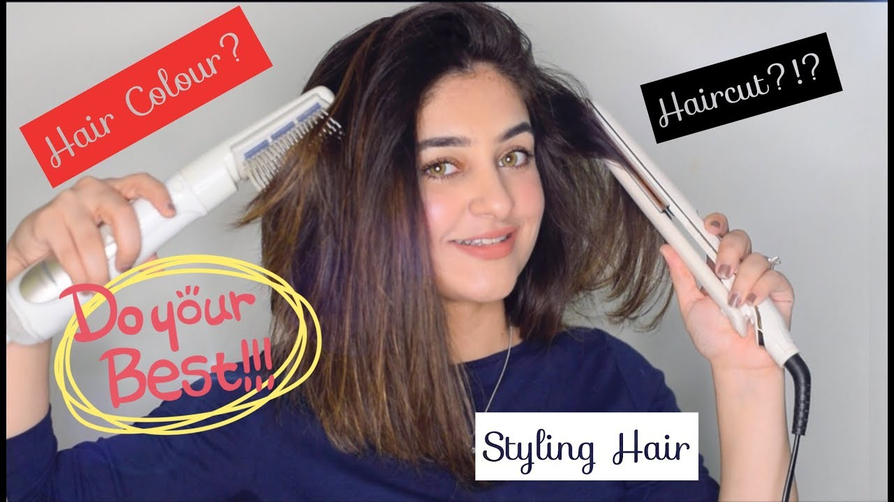 Styling My Hair Sleek Shiny Straight Hair With A Straightener Flat Iron Blow Drier Long Bob Youtube