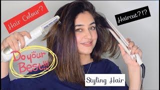 Styling my Hair | Sleek & Shiny Straight hair with a Straightener/Flat Iron/Blow Drier | LONG BOB