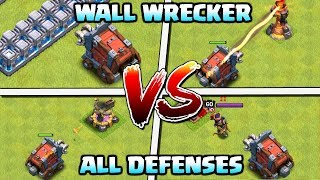 WALL WRECKER vs ALL DEFENSES | New Siege Machine at Town Hall 12 Attacks | Clash of Clans