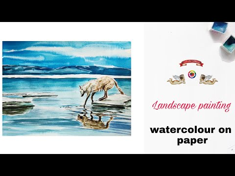 How to Paint A Snowy Winter Landscape | easy watercolor painting for beginners | National Geography