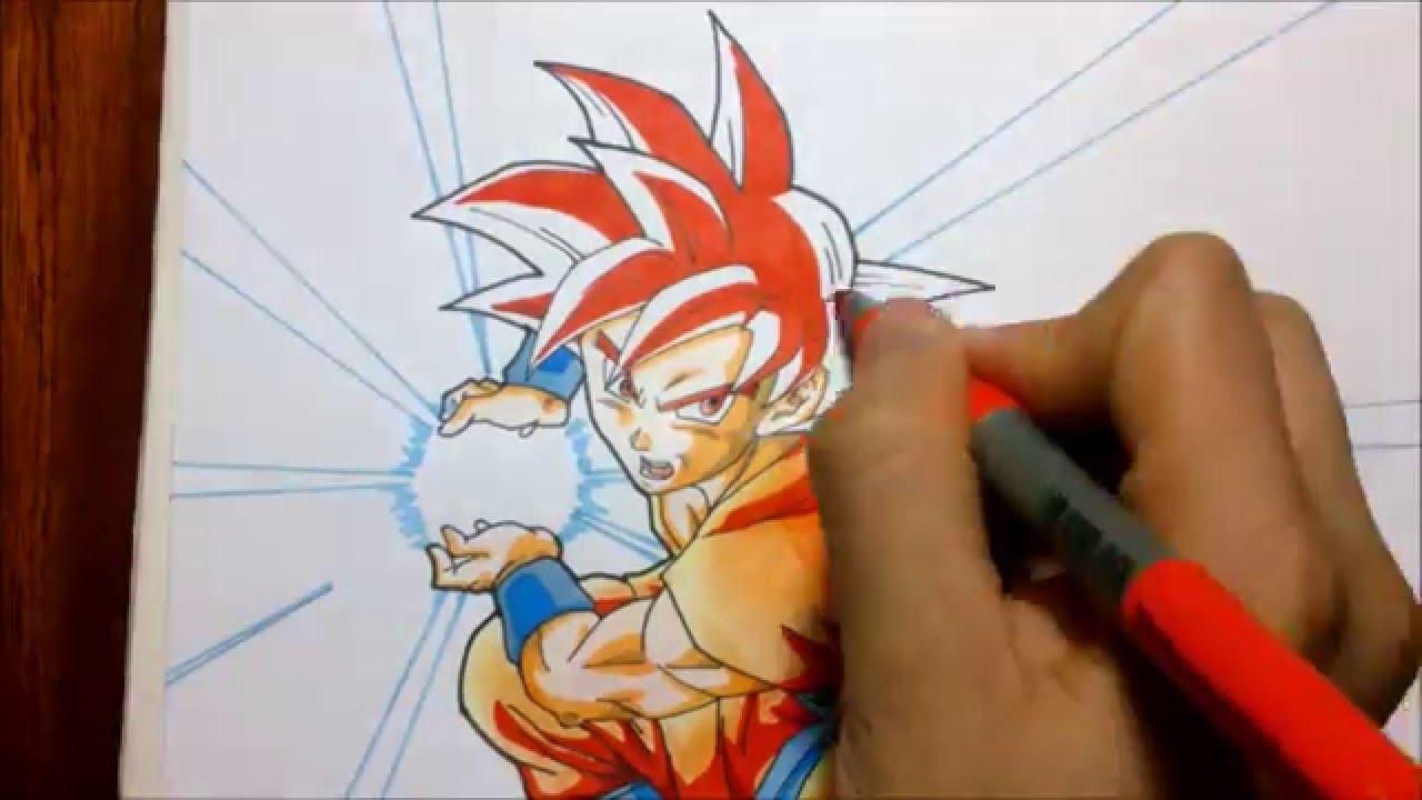TUTORIAL Como dibujar a Goku Super saiyajin dios Rojo How to draw