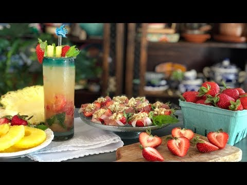 Strawberry and Pineapple Mojito + Blue Cheese Stuffed Strawberries
